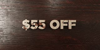 $55 off - grungy wooden headline on Maple - 3D rendered royalty free stock image. This image can be used for an online website banner ad or a print postcard stock illustration