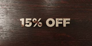 15% off - grungy wooden headline on Maple - 3D rendered royalty free stock image. This image can be used for an online website banner ad or a print postcard stock illustration