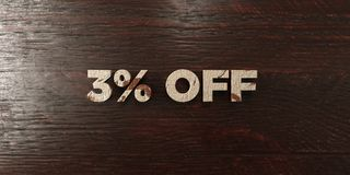 3% off - grungy wooden headline on Maple - 3D rendered royalty free stock image. This image can be used for an online website banner ad or a print postcard stock illustration