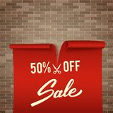 50% off, half price discount, red realistic ribbon, advertisemen. T, big sale, vector illustration Vector Illustration