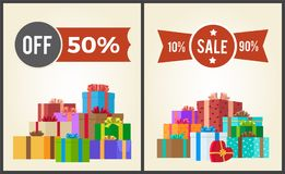 Off Half Price Sale from 10 to 90 Set Promo Label. Off 50 sale from 10 to 90 set promo labels on advertisement posters with heaps of present gift boxes vector Royalty Free Stock Photography