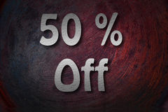 �50% off handwritten with white chalk on a blackboard Stock Photography