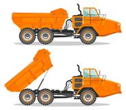 Off-highway truck with different body position. Heavy mining machine and construction equipment. Vector illustration. Detailed illustration of mining truck. Off Stock Image