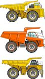 Off-highway trucks. Heavy mining trucks. Vector Royalty Free Stock Images