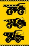Off-highway trucks. Heavy mining trucks. Vector illustration. Stock Photo