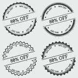 80% off insignia stamp isolated on white. 80% off insignia stamp isolated on white background. Grunge round hipster seal with text, ink texture and splatter and Stock Images