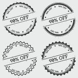 90% off insignia stamp isolated on white. 90% off insignia stamp isolated on white background. Grunge round hipster seal with text, ink texture and splatter and Royalty Free Stock Photography