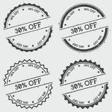 30% off insignia stamp isolated on white. 30% off insignia stamp isolated on white background. Grunge round hipster seal with text, ink texture and splatter and Royalty Free Stock Photography