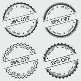 20% off insignia stamp isolated on white. 20% off insignia stamp isolated on white background. Grunge round hipster seal with text, ink texture and splatter and Vector Illustration