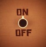 ON/OFF koffie royalty-vrije stock afbeeldingen