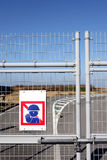 Off limits. Sign and locked gate Royalty Free Stock Photography