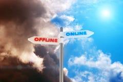 Off-line contra en línea Imágenes de archivo libres de regalías