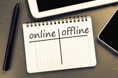 Off-line en línea Imagen de archivo