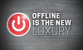 Off-line es el nuevo lujo en fondo del concepto del muro de cemento fotos de archivo