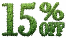15% off. Made of grass. Stock Images