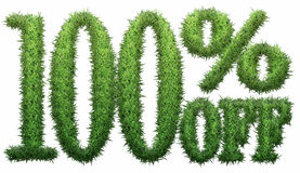 100% off. Made of grass. Isolated on a white background. 3D rendering Royalty Free Stock Photography