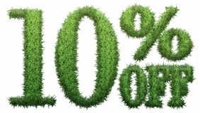 10% off. Made of grass. Isolated on a white background. 3D rendering Royalty Free Illustration