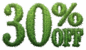 30% off. Made of grass. Isolated on a white background. 3D rendering Vector Illustration