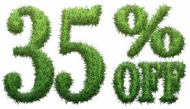 35% off. Made of grass. Isolated on a white background. 3D rendering Stock Photos