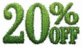 20% off. Made of grass. Isolated on a white background. 3D rendering Royalty Free Stock Photos