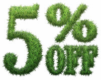 5% off. Made of grass. Isolated on a white background. 3D rendering Royalty Free Illustration