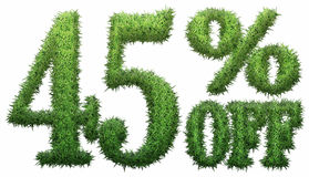 45% off. Made of grass. Isolated on a white background. 3D rendering stock illustration