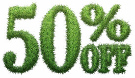 50% off. Made of grass. Isolated on a white background. 3D rendering royalty free illustration