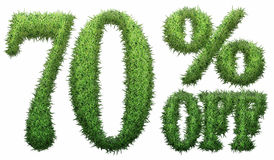 70% off. Made of grass. Isolated on a white background. 3D rendering Stock Illustration