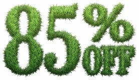 85% off. Made of grass. Isolated on a white background. 3D rendering Vector Illustration