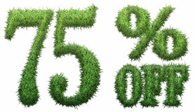 75% off. Made of grass. Isolated on a white background. 3D rendering Stock Photography