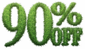 90% off. Made of grass. Isolated on a white background. 3D rendering Stock Illustration
