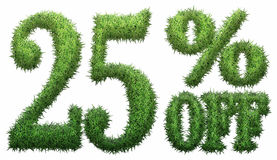 25% off. Made of grass. Isolated on a white background. 3D rendering Vector Illustration