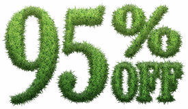 95% off. Made of grass. Isolated on a white background. 3D rendering vector illustration