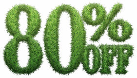 80% off. Made of grass. Isolated on a white background. 3D rendering royalty free illustration