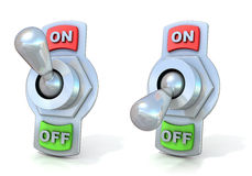 On and off metal toggle switches. Stock Image