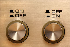 On off off on. Disagreeing control buttons showing opposing instructions Stock Photo
