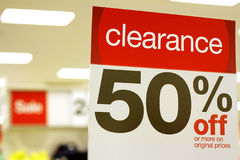 50% Off. Photo of 50% off sign at store Royalty Free Stock Image