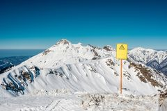 Off-piste sign. Winter mountain landscape. Krasnaya Polyana, Sochi, Russia Royalty Free Stock Photography