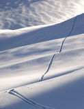 Off-piste ski track. In sunset light stock photography