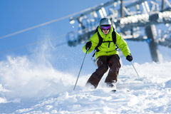 Off-piste skiing Stock Image