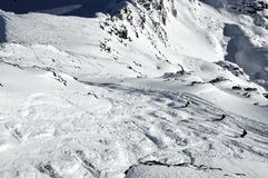 Off Piste skiing on the glacier Royalty Free Stock Images