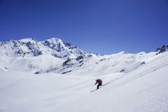 Off-piste Skiing Petit Combin stock image