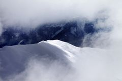 Off-piste slope at evening Royalty Free Stock Photo