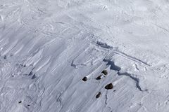 Off-piste slope with snow cornice and stones Stock Images