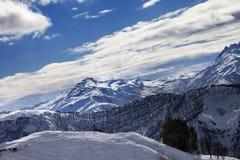 Off-piste slope and snow winter mountains in sun evening. Caucasus Mountains, Tetnuldi, Svaneti region of Georgia stock images