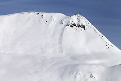 Off-piste slope with traces from avalanches. Caucasus Mountains, Georgia, ski resort Gudauri Stock Photography