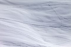 Off-piste slope with traces of skis and snowboarding Royalty Free Stock Photography
