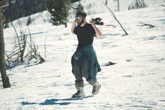 Off-piste Snowboarder Royalty-vrije Stock Foto