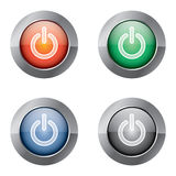 On Off Power button. Illustration of a glossy metal beveled power button, in four colors (red, green, blue and black Royalty Free Stock Photos