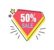 50 Off Price Diamond Sticker Abstract Discount. 50 off price diamond sticker abstract badge, discount offer vector illustration in red and yellow colors, advert stock illustration